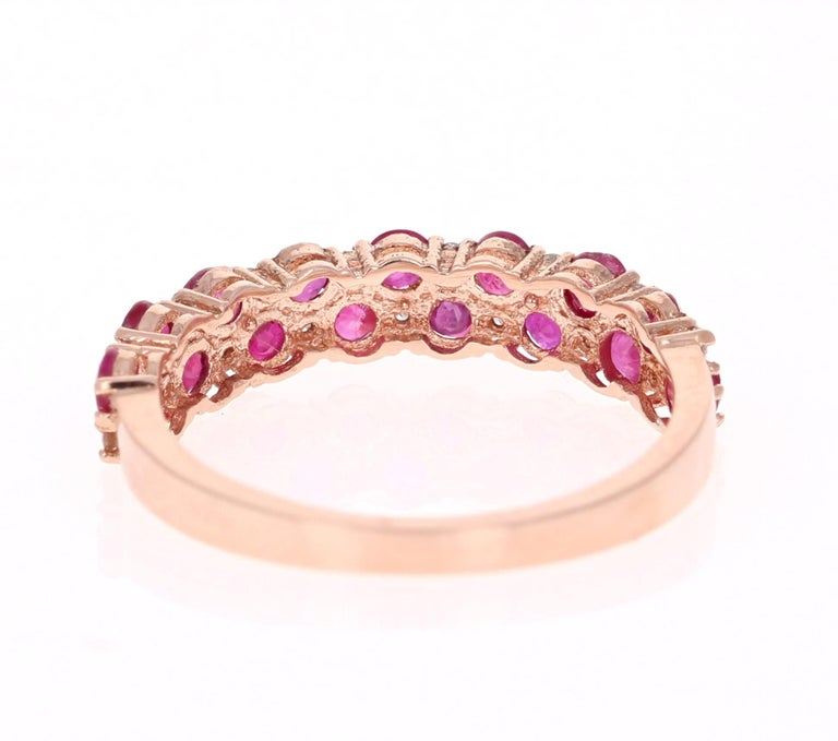 Round Cut 1.90 Carat Diamond Ruby Rose Gold Stackable Bands For Sale