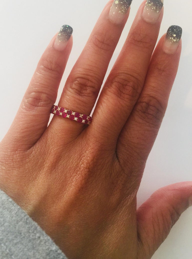 1.90 Carat Diamond Ruby Rose Gold Stackable Bands In New Condition For Sale In San Dimas, CA