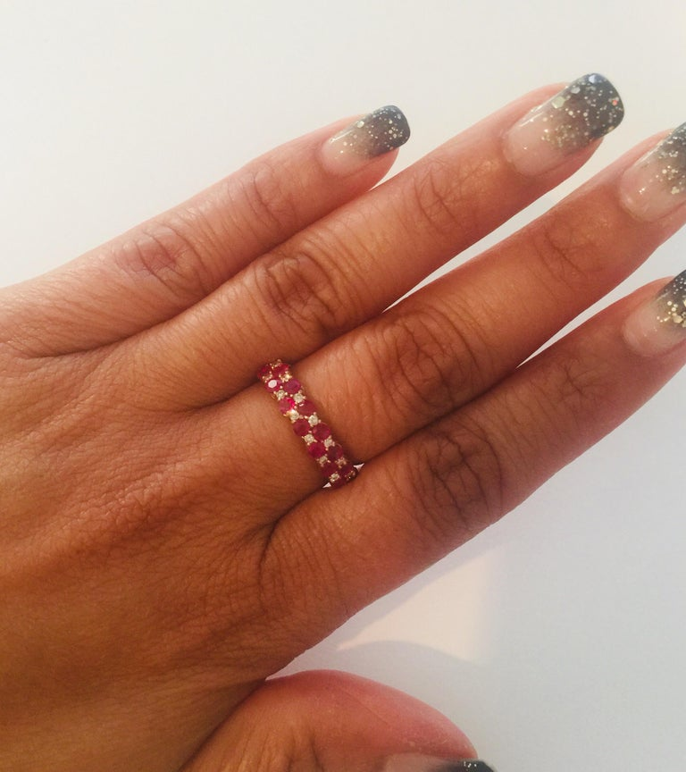 Women's 1.90 Carat Diamond Ruby Rose Gold Stackable Bands For Sale