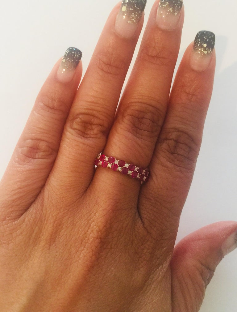 1.90 Carat Diamond Ruby Rose Gold Stackable Bands For Sale 1