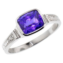 1.90 Carat Tanzanite in Custom Platinum Cassandra Ring, Made in USA