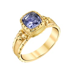1.90 Carat Violet Sapphire Cushion Yellow Gold Engraved Bezel Band Signet Ring