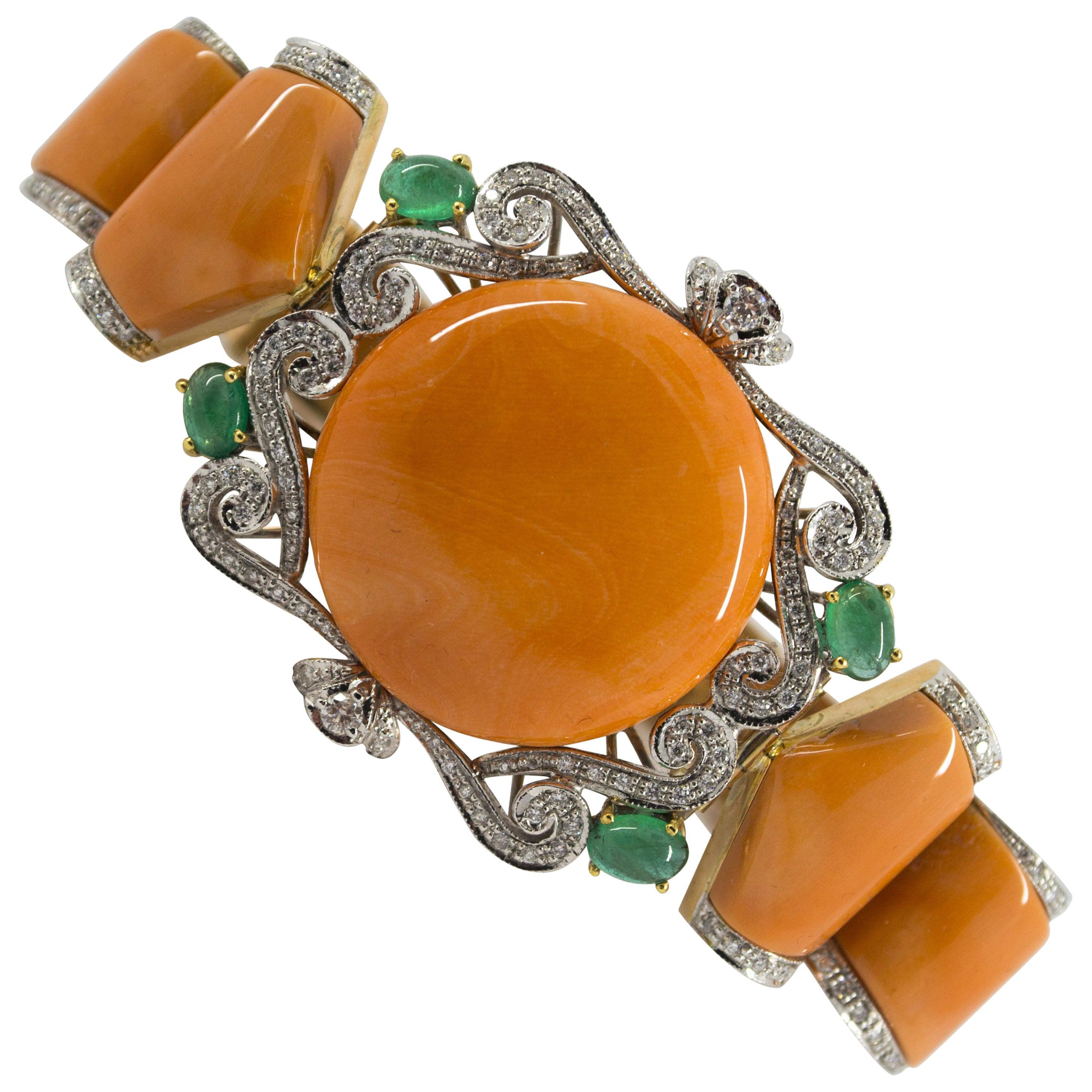 1.90 Carat White Diamond 2.20 Carat Emerald Peach Coral Yellow Gold Bracelet