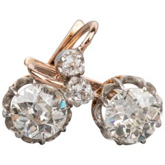 1.90 Carat Antique French Diamonds Earrings