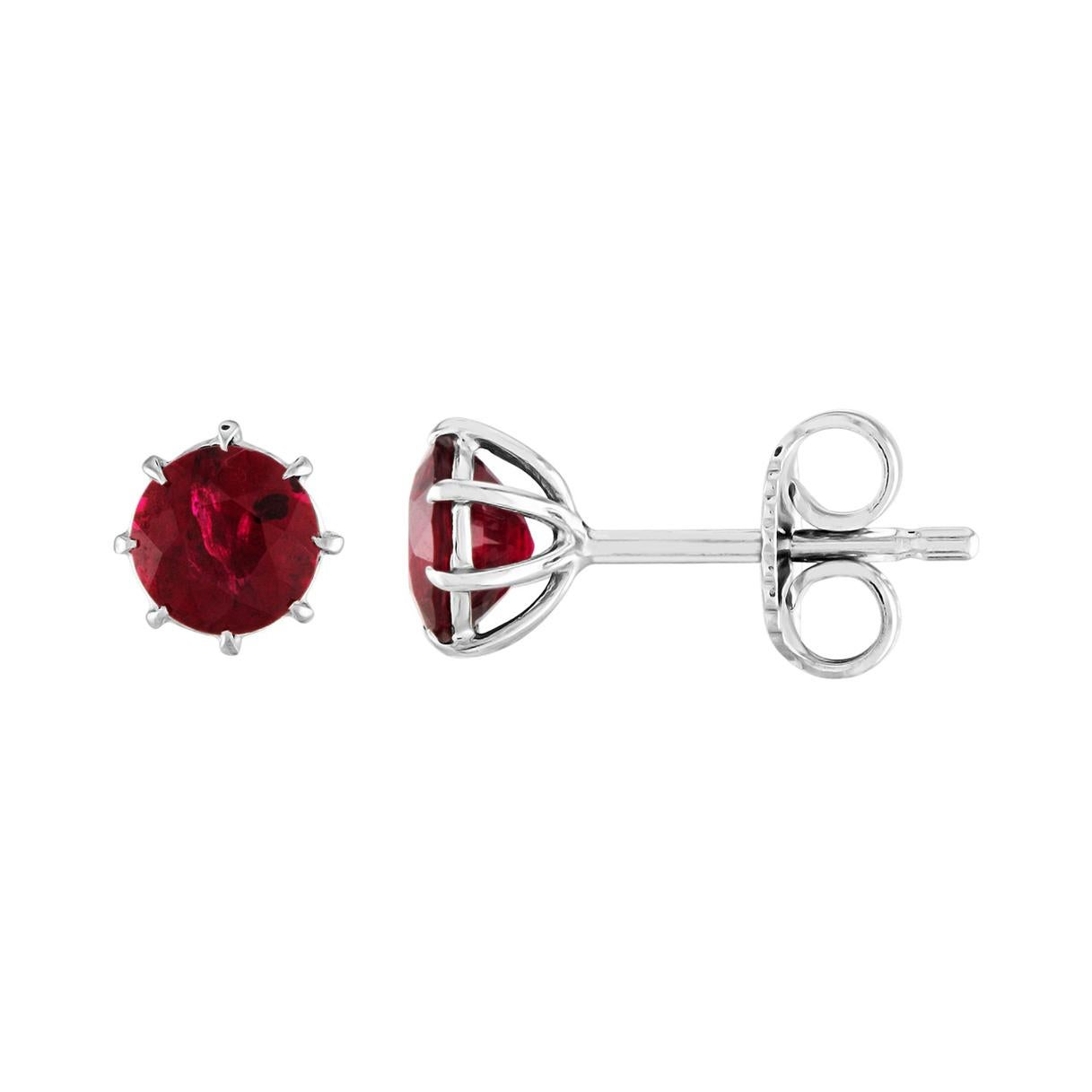 1.90 Carats Ruby Stud White Gold Stud Earrings