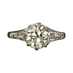 1.90 Ct VS2 Old European Cut Diamond Engagement Ring Art Deco Solitaire