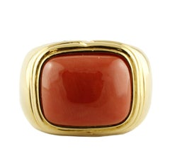 1.90 g Rectangle Shape Red Coral 18 Karat Yellow Gold Signet Ring