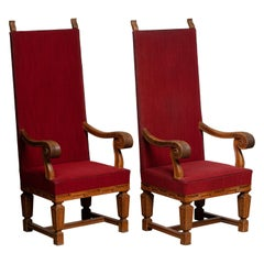 1900 / 1950's Pair of Tall Crafts Throne Chairs Carved Oak Wood from Sweden