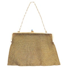 1900 Antique 18 Carats Gold Mesh Handbag with Gold Chain Blue Stones