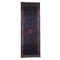 1900 Antique Hand Knotted Kurdish Bidjar Gallery Wide Runner Rug
