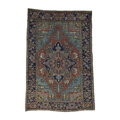 "1900 Antique Hand Knotted Persian Heriz Rug Even Wear, Rustic - 6'8"" x 9'9"""