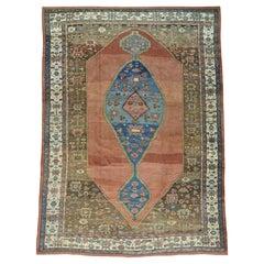 1900 Antique Handmade Original Persian Bakshaish Rug Prolonged