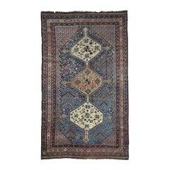 1900 Antique Persian Qashqai Rug, Exquisite Blue