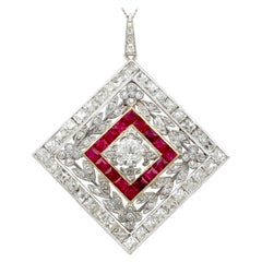 1900 Antique Ruby 3.48 Carat Diamonds Gold Platinum Pendant Brooch