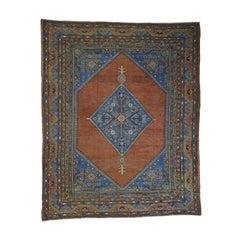 1900 Antique Samarkand with Bakshaish Design Rug, Open Field Rust