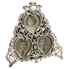 1900 Antique Victorian Sterling Silver Photograph Frame