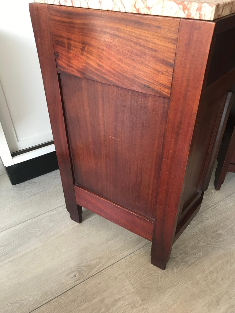 Amsterdam School Mahogany Macassar & Marble Nightstands Cabinets Tables For Sale 6