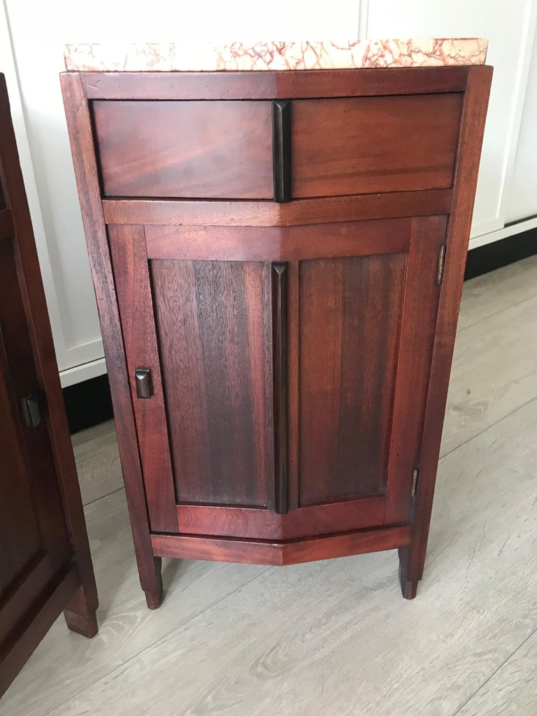 Amsterdam School Mahogany Macassar & Marble Nightstands Cabinets Tables For Sale 8