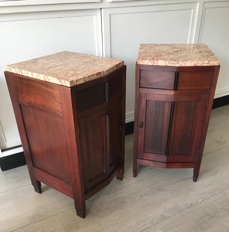 Amsterdam School Mahogany Macassar & Marble Nightstands Cabinets Tables For Sale 9