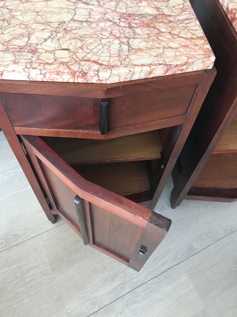Amsterdam School Mahogany Macassar & Marble Nightstands Cabinets Tables For Sale 10