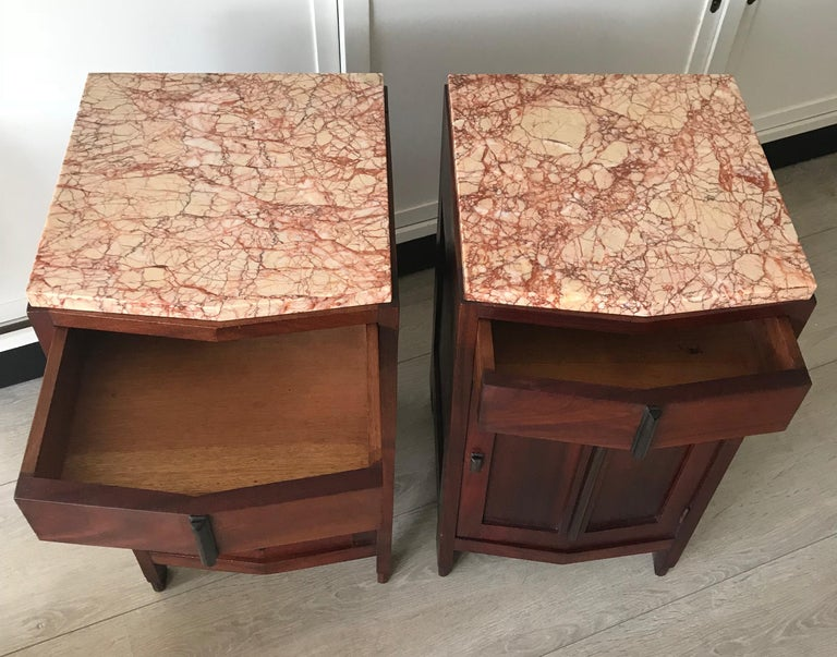Amsterdam School Mahogany Macassar & Marble Nightstands Cabinets Tables For Sale 11