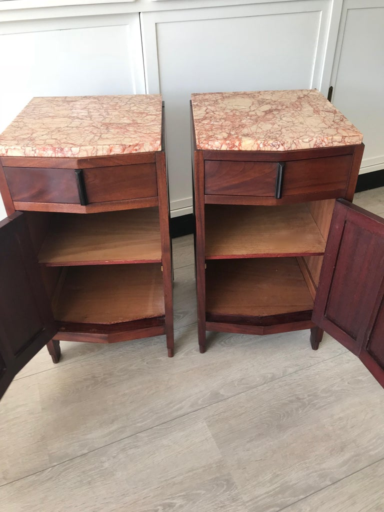 Amsterdam School Mahogany Macassar & Marble Nightstands Cabinets Tables For Sale 12