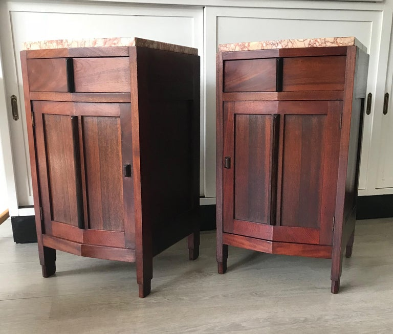Dutch Amsterdam School Mahogany Macassar & Marble Nightstands Cabinets Tables For Sale
