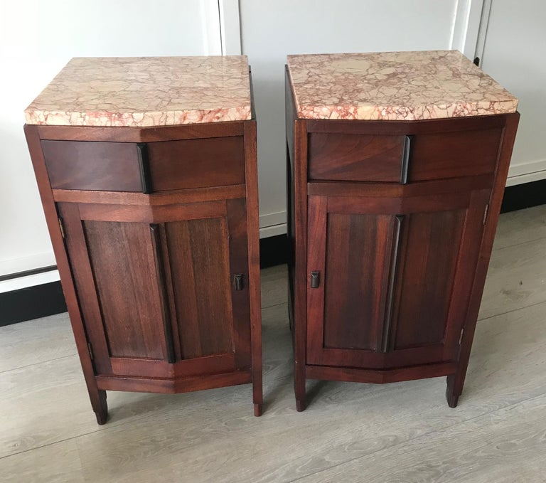 Early 20th Century Amsterdam School Mahogany Macassar & Marble Nightstands Cabinets Tables For Sale