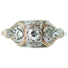 1900 Art Deco Old European Diamond, 14 Karat Gold and Palladium Two-Tone Ring