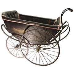 1900 Black and Pink French Wood, Iron and Leather Capitone Baby Trolley