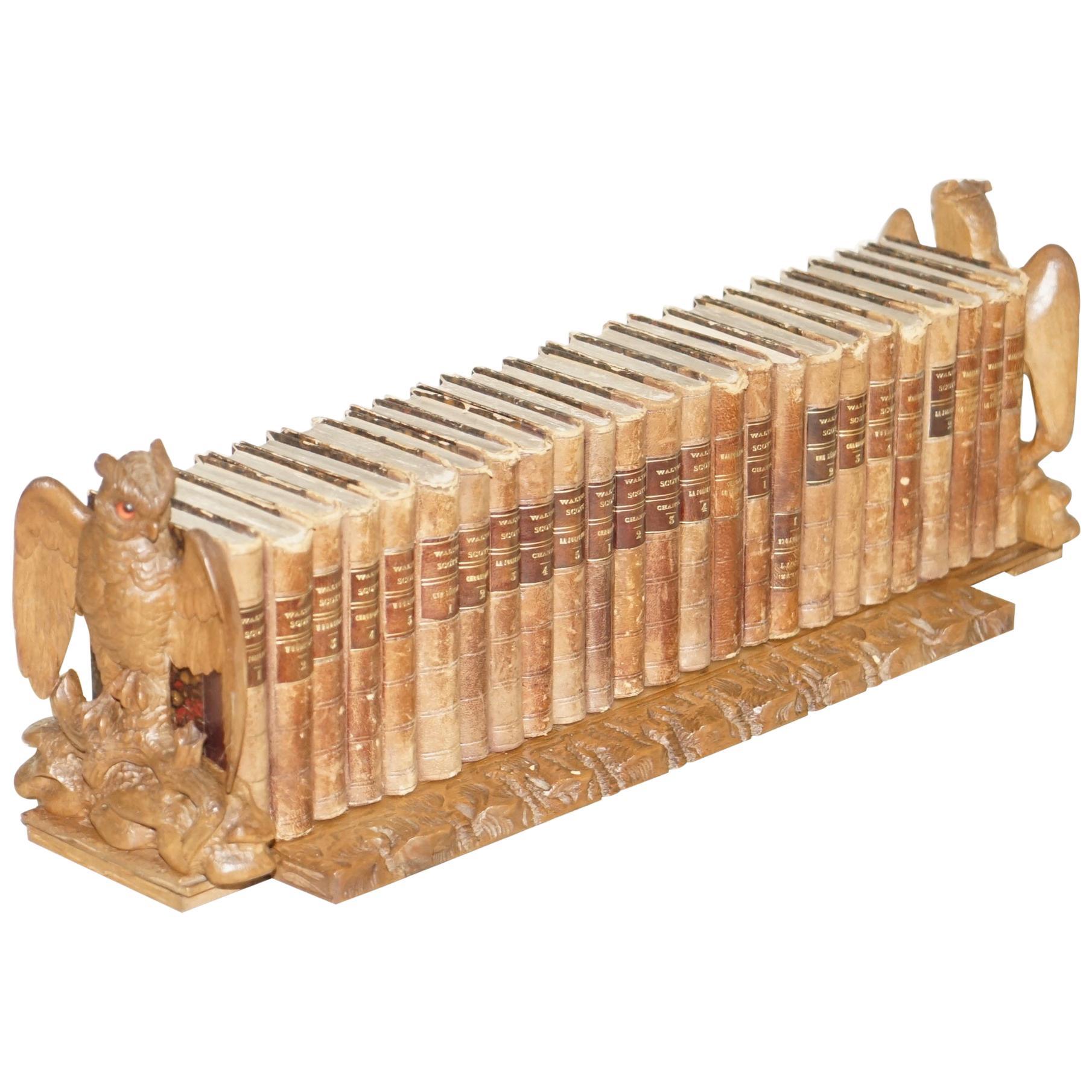 1900 Black Forest Owl Carved Wood Extending Bookshelf Sir Walter Scott Books