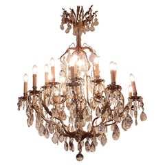 1900 Bronze Cage Chandelier 10 Arms 21 Bulbs