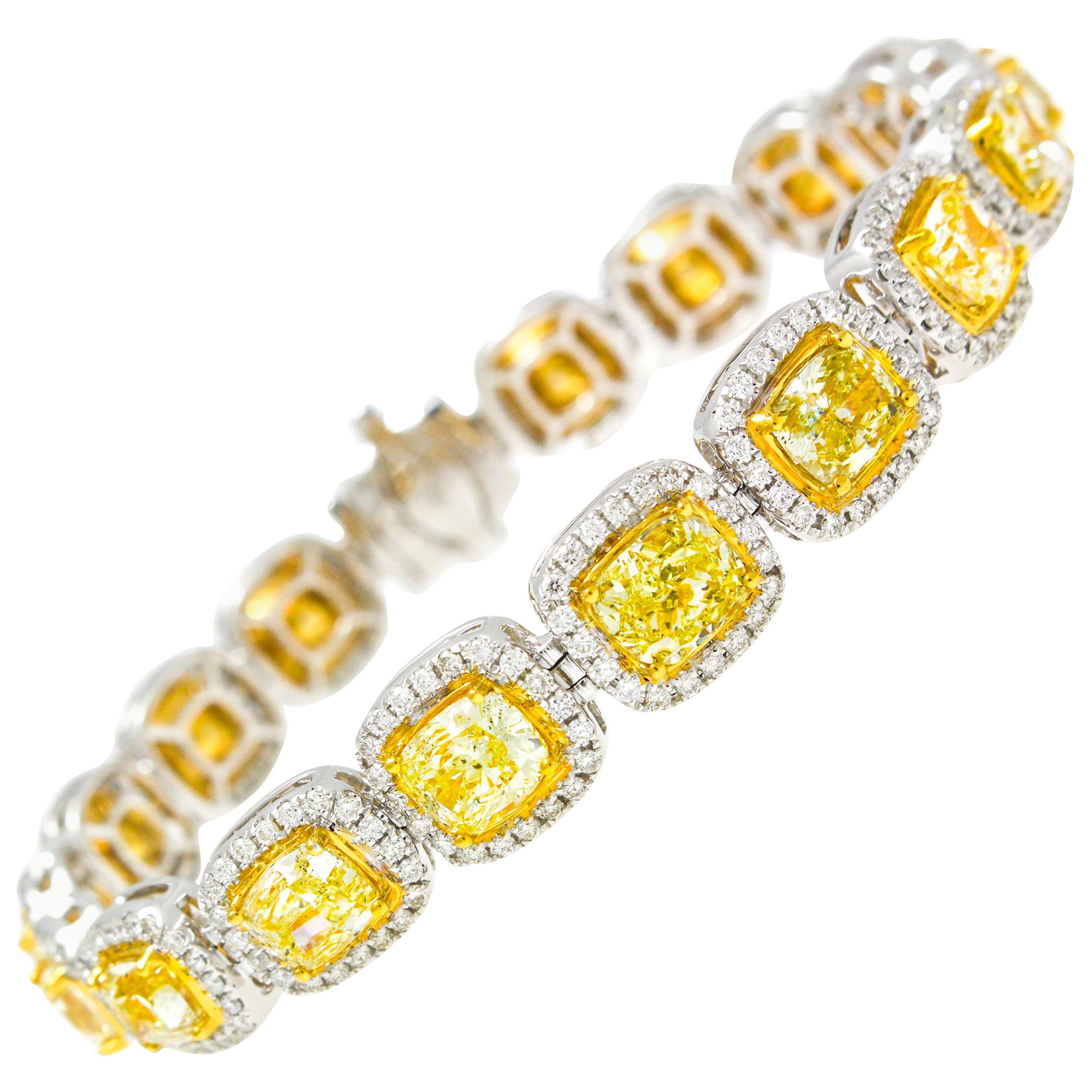 19.00 Carat Cushion Cut Yellow and White Diamond Bracelet