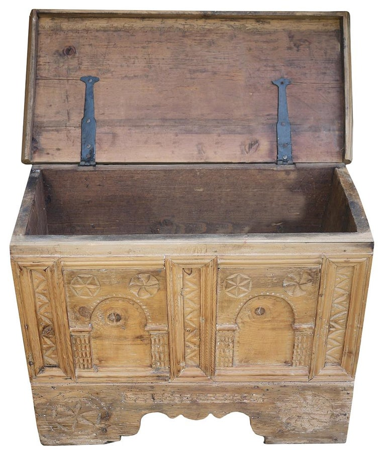 20th Century 1900 Carved Wood Blanket Chest For Sale