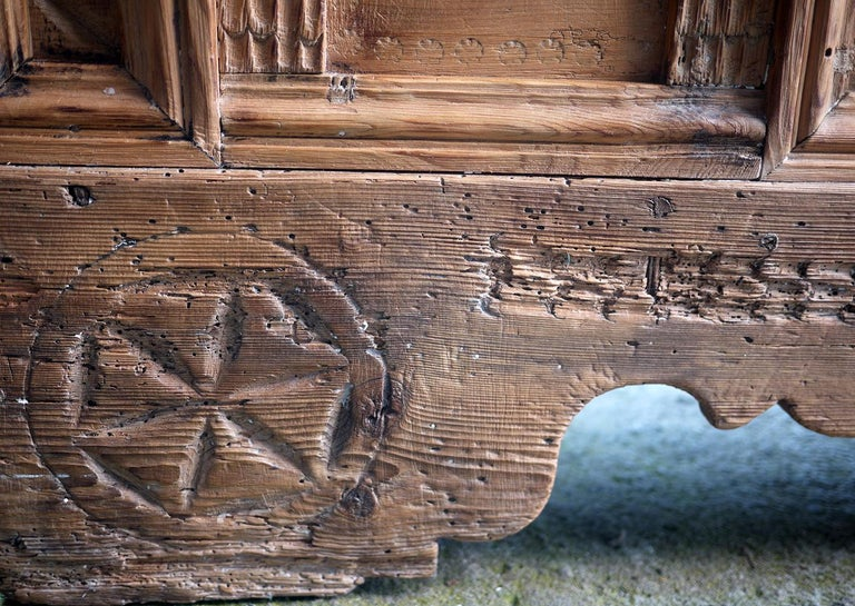 1900 Carved Wood Blanket Chest For Sale 1