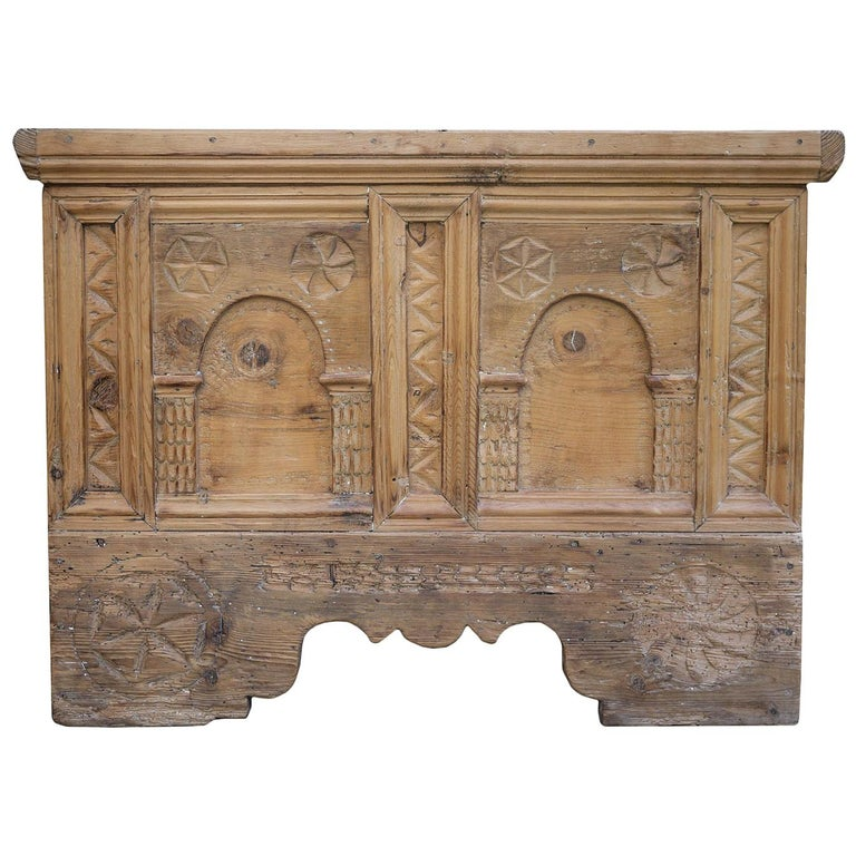 1900 Carved Wood Blanket Chest For Sale