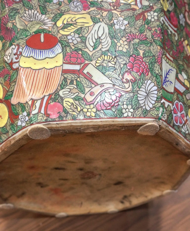 1900 Chinese Champleve Floral Multicolored Porcelain Jardinière For Sale 4