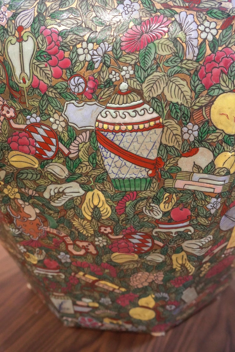 1900 Chinese Champleve Floral Multicolored Porcelain Jardinière For Sale 5