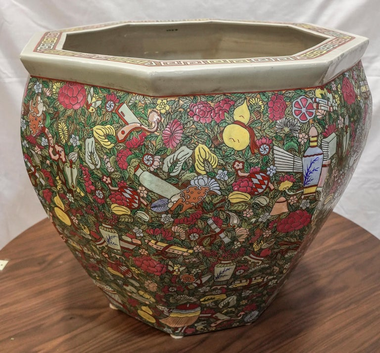 1900 Chinese Champleve Floral Multicolored Porcelain Jardinière For Sale 7