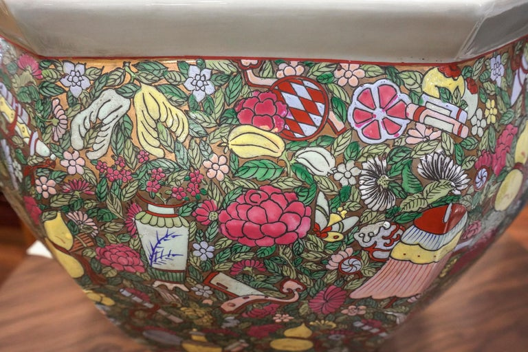 1900 Chinese Champleve Floral Multicolored Porcelain Jardinière For Sale 8