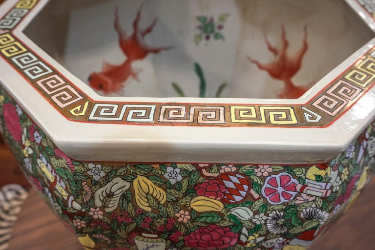 1900 Chinese Champleve Floral Multicolored Porcelain Jardinière For Sale 9