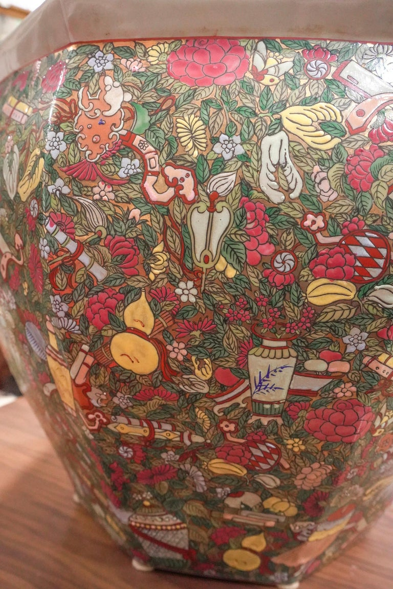 1900 Chinese Champleve Floral Multicolored Porcelain Jardinière For Sale 13