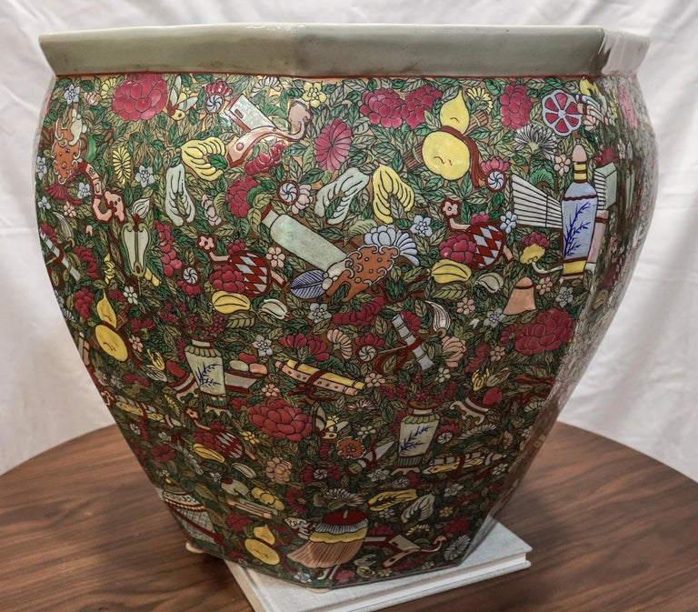 Qing 1900 Chinese Champleve Floral Multicolored Porcelain Jardinière For Sale