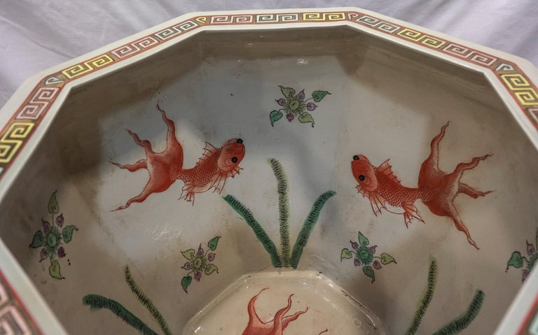 Early 20th Century 1900 Chinese Champleve Floral Multicolored Porcelain Jardinière For Sale