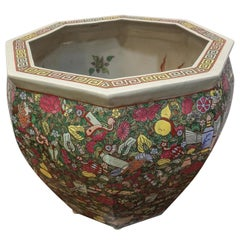 1900 Chinese Champleve Floral Multicolored Porcelain Jardinière