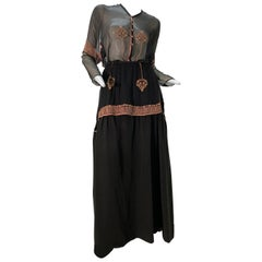 1900 Couture Lucile Ltd 3-Piece Embroidered Black Silk Walking Suit