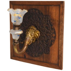 1900 Elephant Bronze Wall Sconce