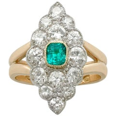 1900 Emerald and 2.66 Carat Diamond Yellow Gold Cocktail Ring