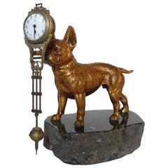 1900 France, Pendulum Clock Depicting a French Bulldog