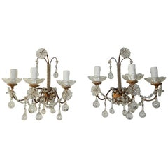 1900 French Baroque Clear Murano Drops Micro Beaded Crystal Sconces 3 Lights